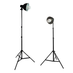 Dual 45W CFL Fluorescent Spiral Bulb Reflector Light Stands for Photography and Video Lighting by Loadstone Studio