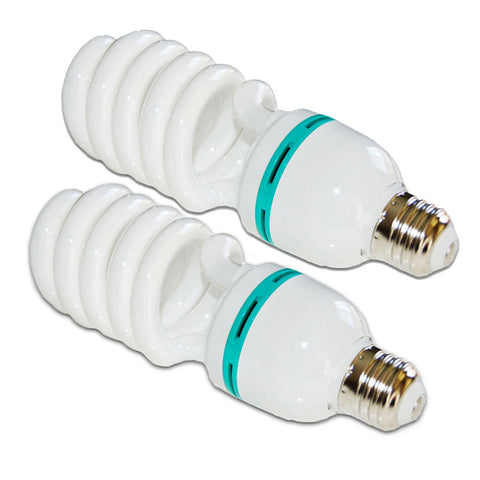 2x 85W CFL Fluorescent Spiral Light Bulb Pure White 6500K Daylight Color Balanced for Photo Video Lighting by Loadstone Studio