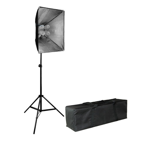 Single Softbox Lighting Kit with 5x 45W CFL Bulbs Light Socket and Carrying Case for Photo Video Lighting By Loadstone Studio