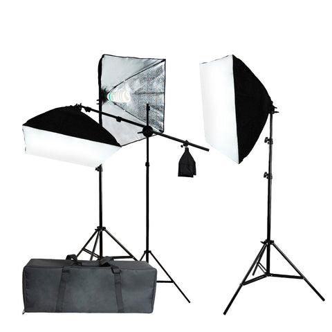 Triple Softbox Lighting Kit with 3x 45W CFL Bulbs, 3x Light Stands, Boom Arm Extension and Travel Case by Loadstone Photography