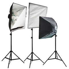3000W Softbox Light Stand Set with 15x 45W CFL Bulbs, 3x Stands, 3x Light Heads for Photography Lighting by Loadstone Studio