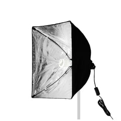 "16""x16"" Silver Interior Softbox Diffuser with Power Cord and Single Bulb Socket Convenient Folding Design"