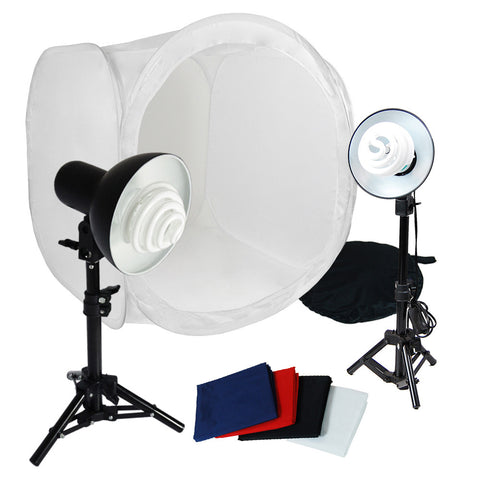 "Portable Product Photo Lighting Kit with 2x 30W Light Heads, 2x Light Stands, and 30"" Photo Tent"
