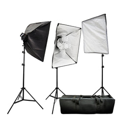 4500W Softbox Light Kit with 3x Light Heads and 15x 65W CFL Daylight Balanced Bulbs Photo Video Lighting by Loadstone Studio