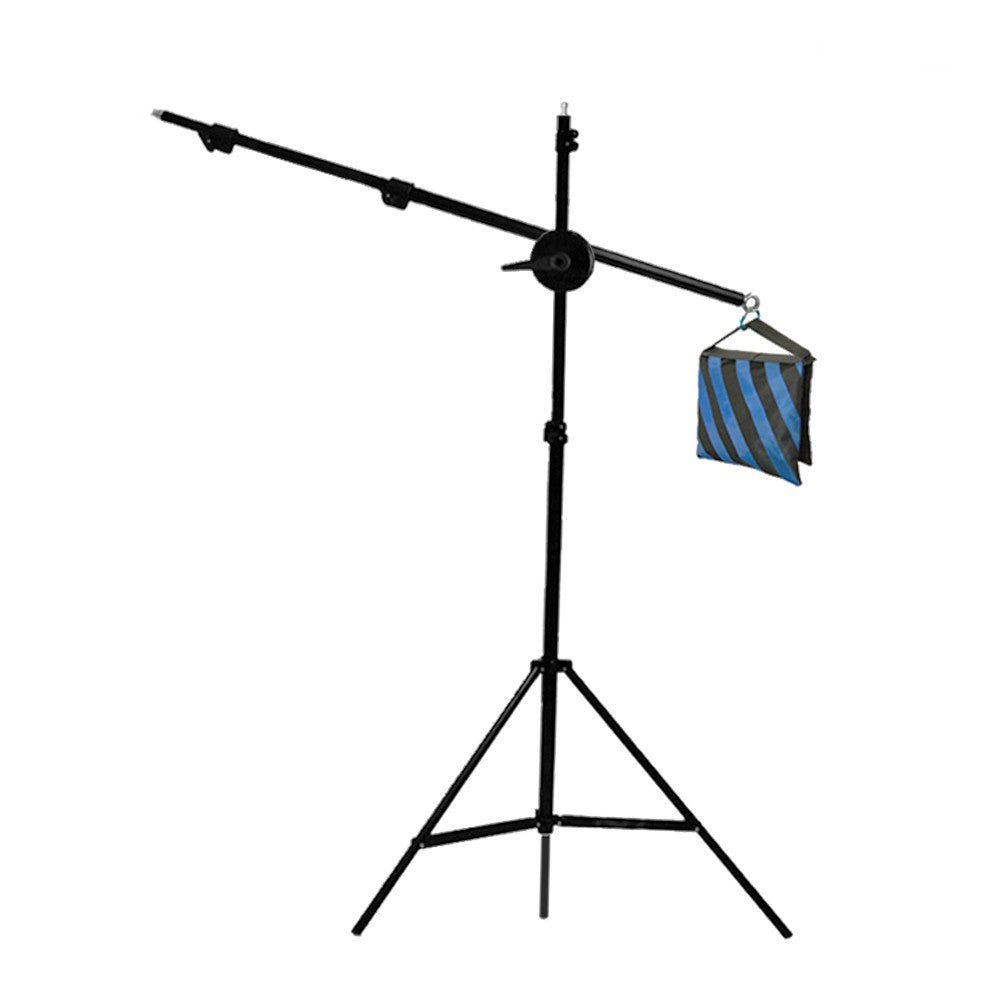 "75"" Boom Arm Extension with 87"" Light Stand and Weighted Counter Balance Sandbag for Photography Lighting"