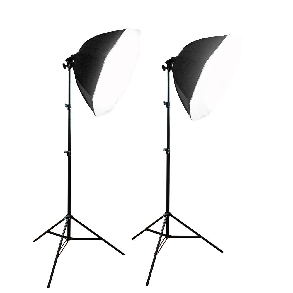"22"" Dual Octagon Softbox Light Stand Kit with White Diffuser, Aluminum Alloy Stands, and 45W CFL Bulbs by Loadstone Studio"
