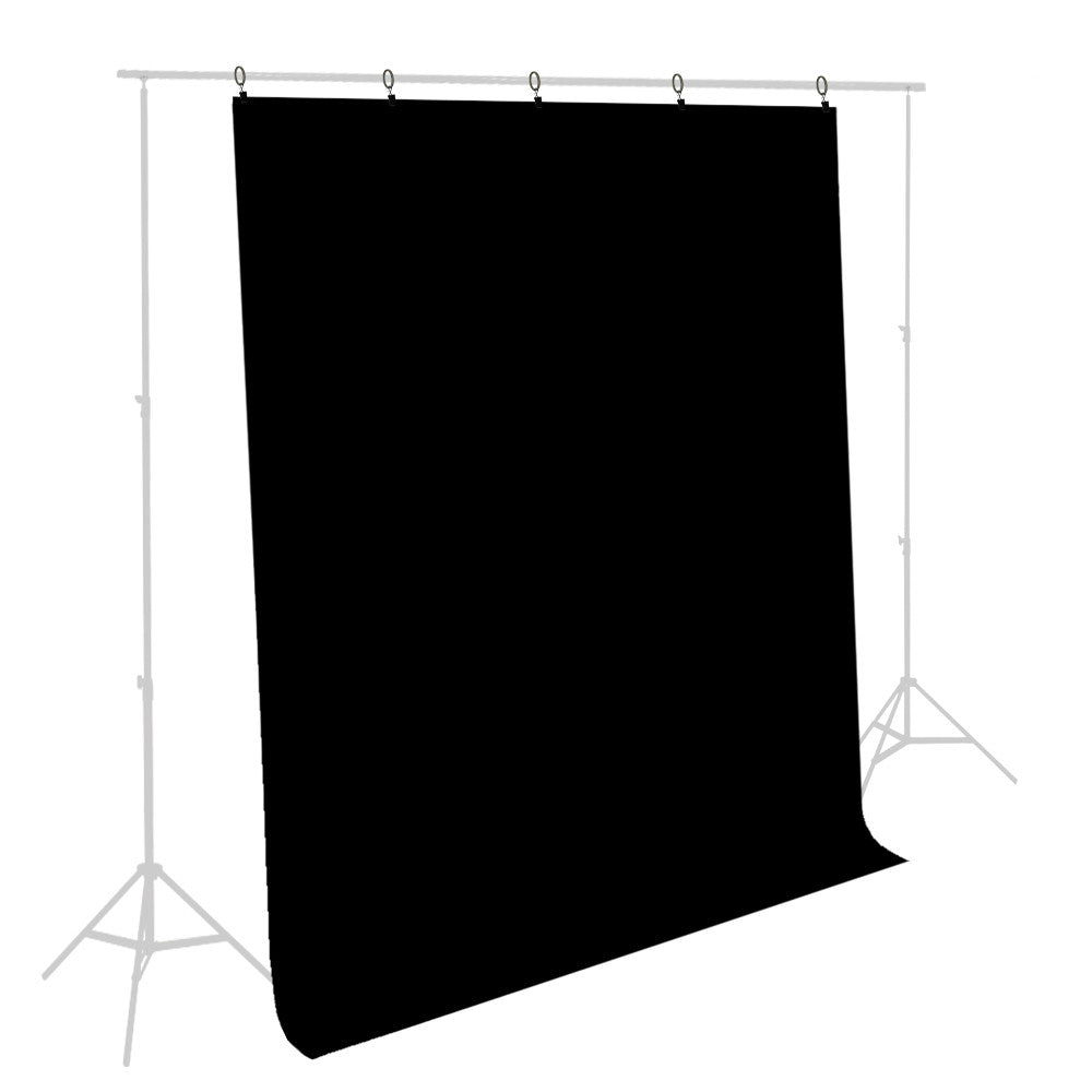 5'x10' foot Black Muslin Backdrop Background Screen Cloth with 5 Ring Backdrop Holder Clips by Loadstone Studio
