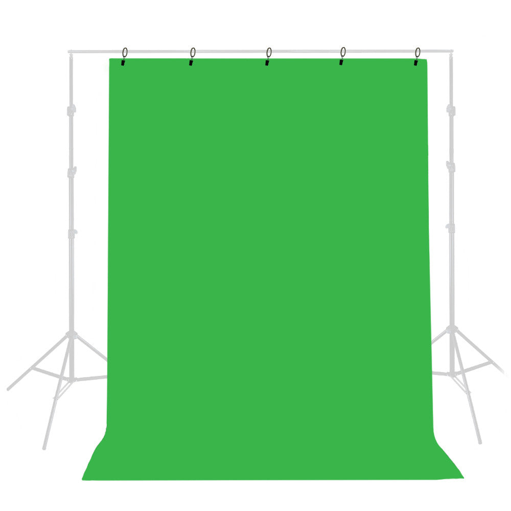 5x10' ft. Chromakey Green Muslin Backdrop Background Screen Fabric Cloth with 5 Ring Holder Clips by Loadstone Studio