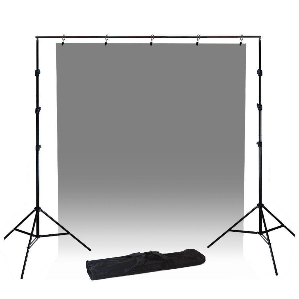 Steel Construction Backdrop Support System with Adjustable Stands and Crossbar with 5 Piece Ring Holder by Loadstone Studio