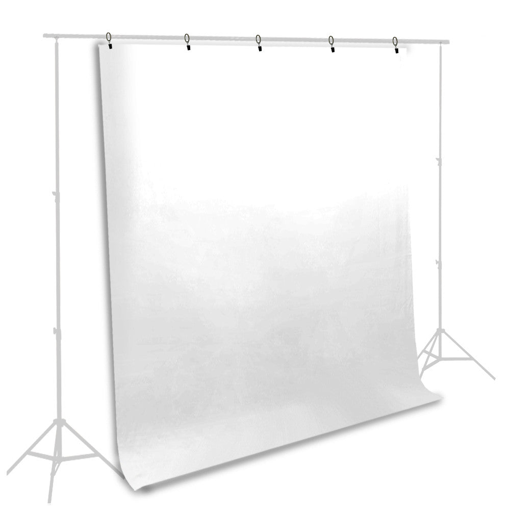 5' x 10' ft. All White Muslin Backdrop Background Screen Cloth with 5 Ring Backdrop Holder Clips by Loadstone Studio