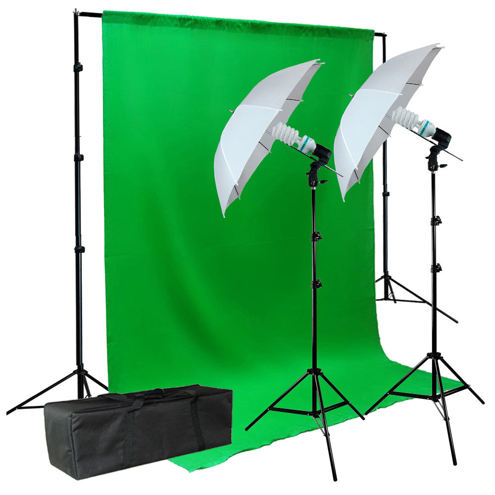 6 x 9 Feet Green Screen Muslin Lighting Kit with 2x 45W CFL Bulb Light Stands, Backdrop Support and Carry Bag by Loadstone Studio