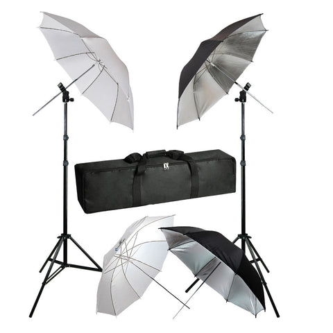 Flash Mount Hot Shoe Adapter with 2x Black/Silver and 2x White Umbrella Kit with Carry Case for Photo Video Lighting