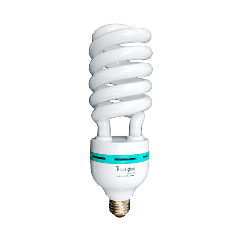 65W CFL Fluorescent Spiral Light Bulb Pure White 6500K Daylight Color Balanced for Photo Video Lighting by Loadstone Studio