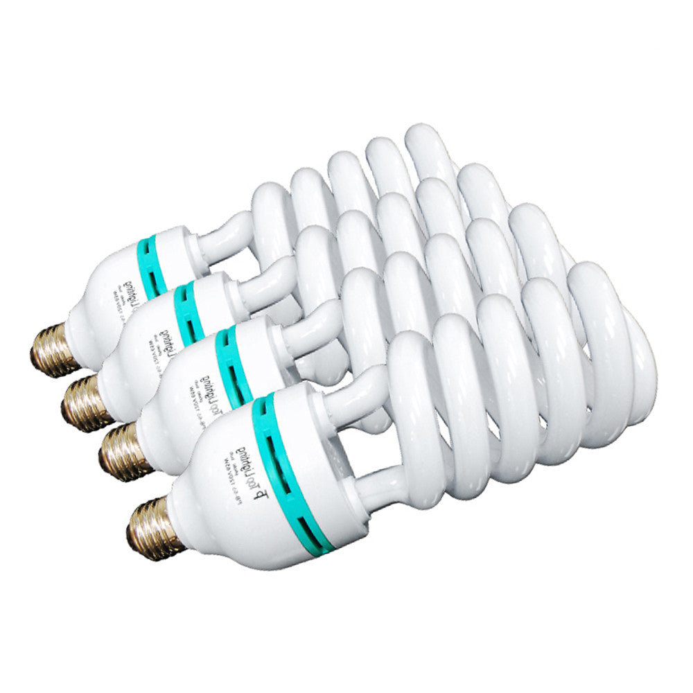4x 65W Fluorescent Spiral Light Bulb Pure White 6500K Daylight Color Balanced for Photo Video Lighting by Loadstone Studio
