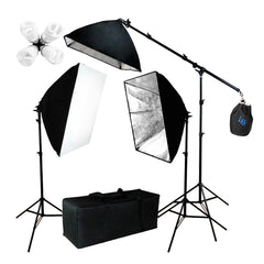 2400W 3x Softbox, 3x Light Heads, 3x Light Stands, Boom Arm Extension and Carry Bag for Photo Video Lighting by Loadstone Studio