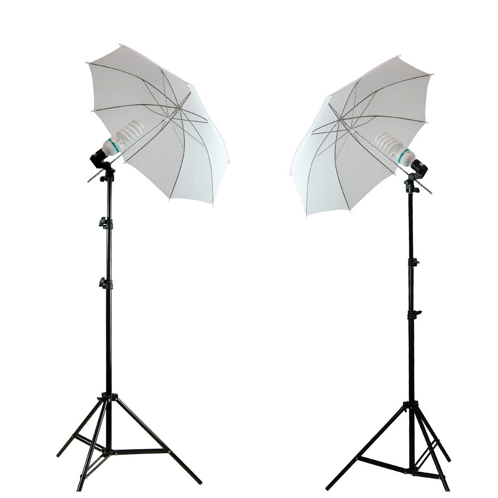 2x 45W Daylight Light Bulb with All White Soft Diffusion Umbrella Lighting Stands for Photography Lighting by Loadstone Studio