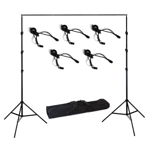 10' Foot Adjustable Background Support System Stand Kit with 4 Piece Backdrop Holders for Photo Lighting by Loadstone Studio