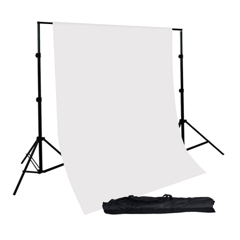 10' x 12' Feet White Seamless Muslin Backdrop and Background Support System for Photo Lighting Set by Loadstone Studio