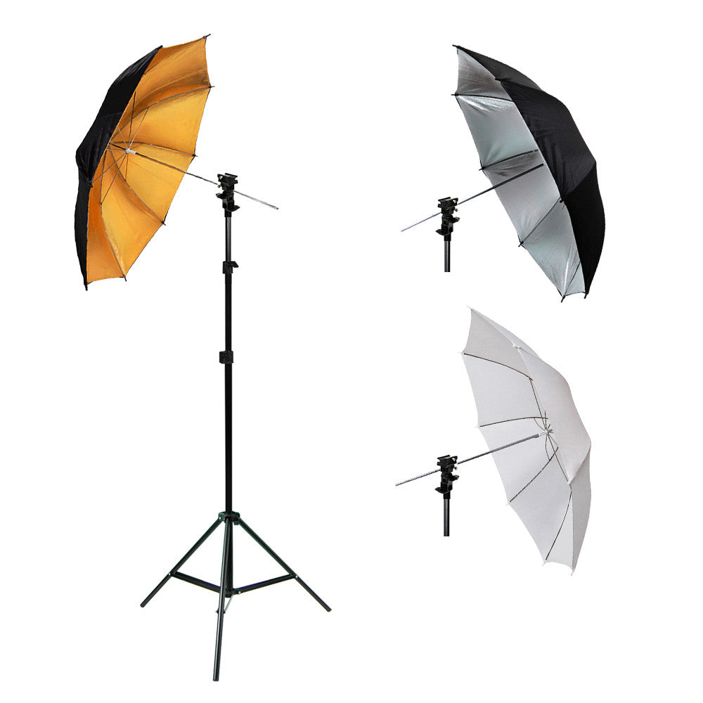 Single Adjustable Lighting Stand Kit with Flash Hot Shoe Mount and White, Black/Silver, Black/Gold Umbrellas