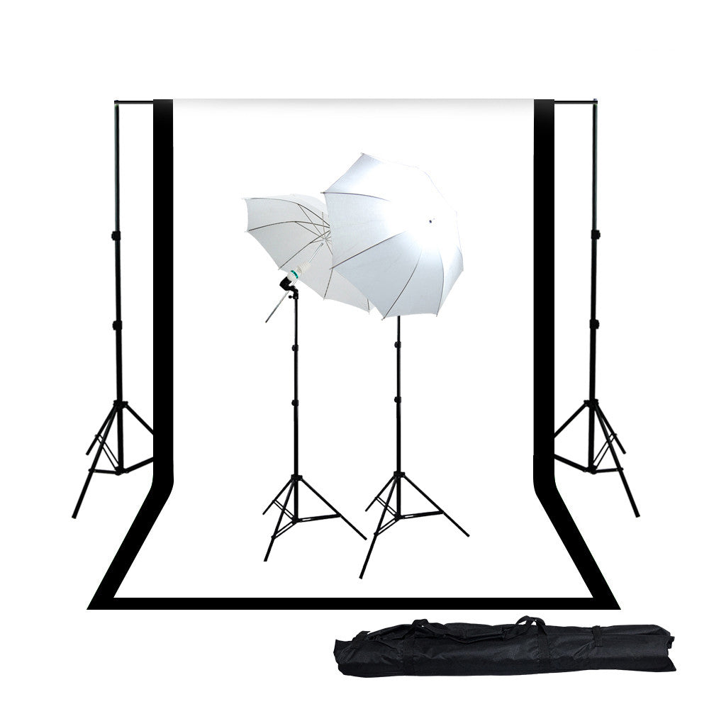 2x 45W Lighting Kit with Backdrop Support System, White & Black Muslin, 2x White Umbrellas, 2x Light Stands by Loadstone Studio