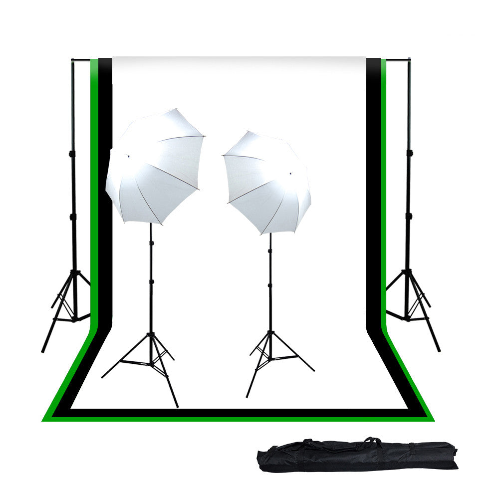 2x 45W Lighting Kit with Backdrop Support System, 3x Colored Muslins, 2x White Umbrellas, 2x Light Stands by Loadstone Studio