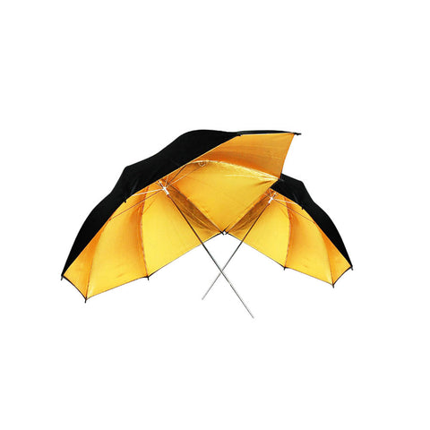 "40"" Inch Black Exterior and Gold Interior Reflective Umbrella for Photography and Video Lighting"