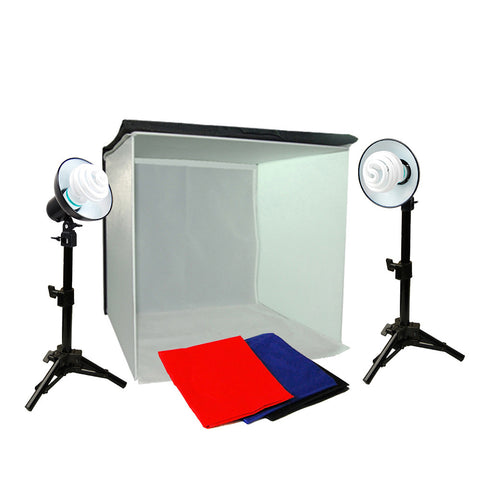 "16"" Folding Photo Tent Cube Box Lighting Kit with 2x 30W Spiral Bulbs, 2x Mini Stands, and 4x Backdrops"