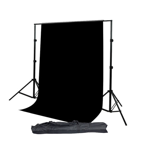 10'x8.5' Aluminum Alloy Photo Backdrop Support Stand with Premium Seamless 10x20ft Black Muslin Backdrop by Loadstone Studio