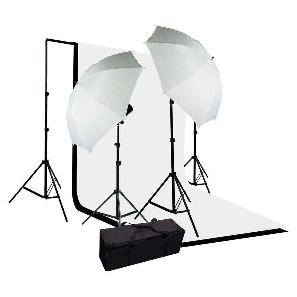 Premium Continuous Lighting Kit with Black and White Muslin Backdrops, Support System, and White Umbrellas by Loadstone Studio