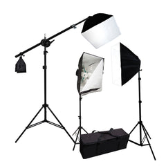 2500W CFL Continuous Lighting Overhead Boom Arm Kit with 3x Softboxes, 3x Light Stands, and Carry Bag  by Loadstone Studio