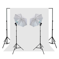 1000W Photo Lighting Kit with 2x White Umbrellas, 2x Stands, White Muslin and Backdrop Support System by Loadstone Studio