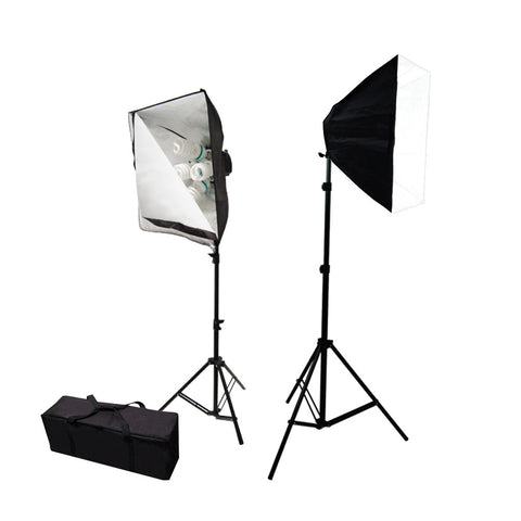 Double Softbox Light Kit with 10x 65W CFL Bulbs, 2x Stands, and 2x 5 Bulb Socket Head for Photo Lighting by Loadstone Studio