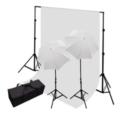 2x 45W Lighting Kit with 2x White Umbrellas, 2x Light Stands, 6x9' White Muslin and Backdrop Support System by Loadstone Studio