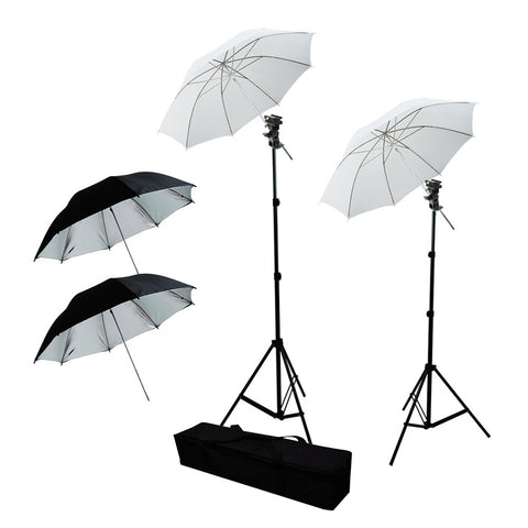 2x Speedlite Flash Hot Shoe Mount Kit with 2x White and 2x Black/Silver Umbrellas for Photo Video Lighting