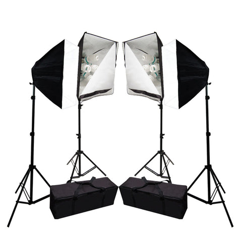Quad Set of Softbox Lights with 20x 6500K Daylight Balanced 45W CFL Bulbs, Four Light Stands, 2 Carry Bags by Loadstone Studio