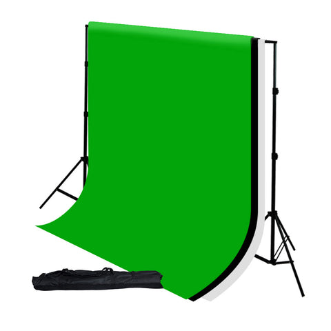 Triple Color A-Grade 6' x 9' Muslin Backdrops with Aluminum Alloy Backdrop Support Stand White Black Green by Loadstone Studio