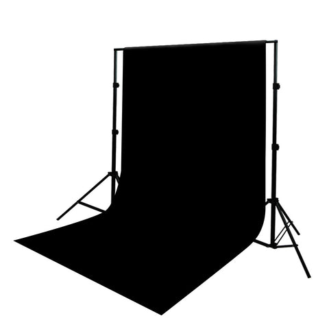 Pure Black 6' x 9' Muslin Backdrop with Aluminum Alloy Backdrop Support Stand System for Video and Photo by Loadstone Studio