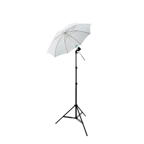 White Shoot Through Umbrella for Light Diffusion with Stand, Single Socket Bulb Holder, and 45W CFL Bulb