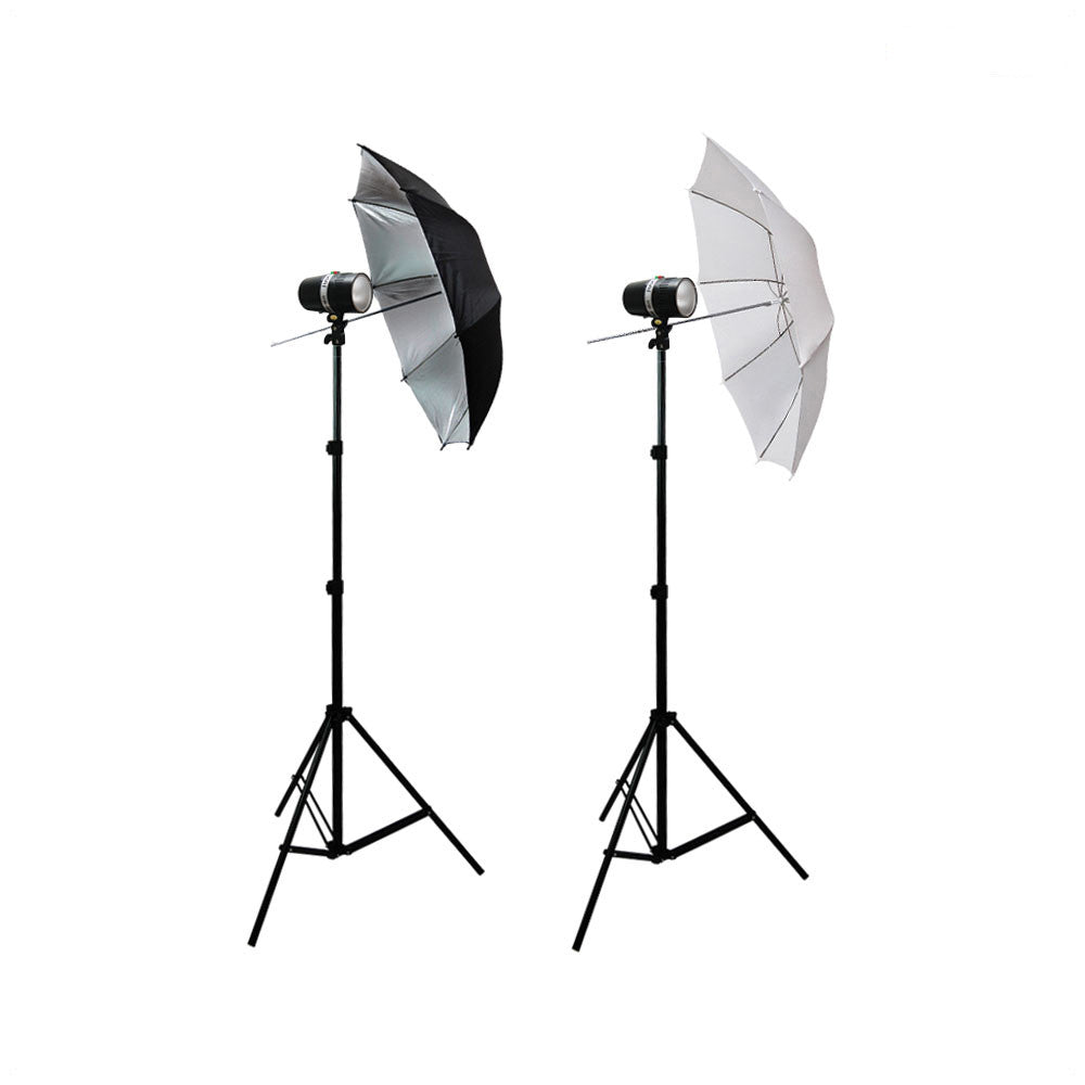 300W Lighting Kit with 2x Light Stands, 1x White and 1x  Black/Silver Umbrella for Photo Video Lighting