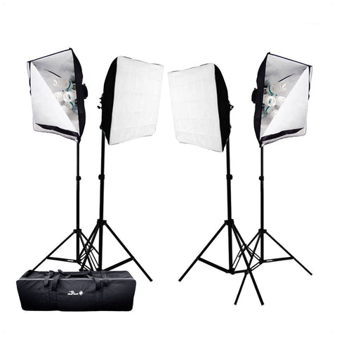6000W 4x Softbox Lighting Kit with 20x 65W CFL Bulbs, 4x Stands & 4x Light Socket Head for Photo Lighting By Loadstone Studio