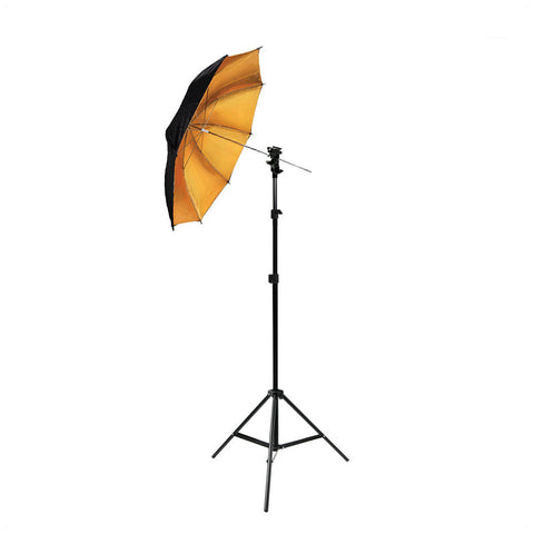 "33"" Black Exterior, Gold Interior Premium Bounce Umbrella Light Modifier with 8mm Shaft for Photo Lighting"