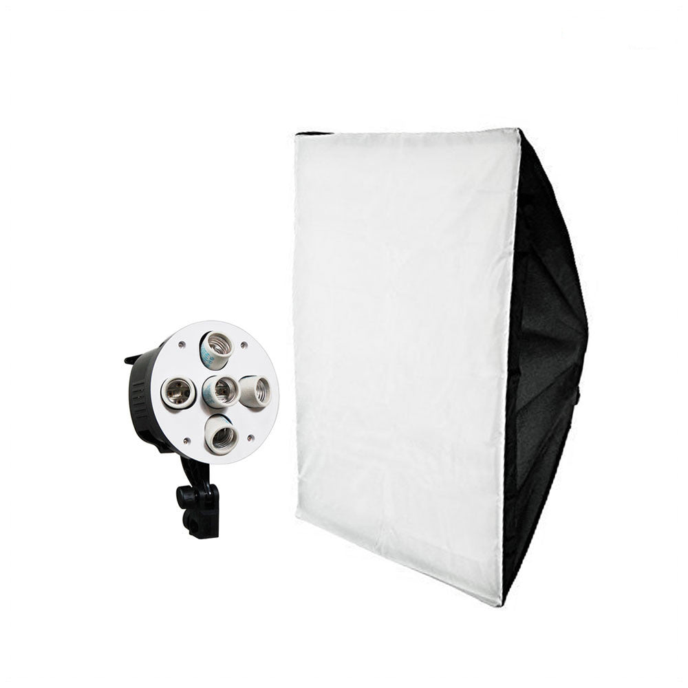 "24"" x 36"" Large Size Softbox Lighting Kit with 5 Bulb Light Socket Adapter Head for Photo Video Lighting"