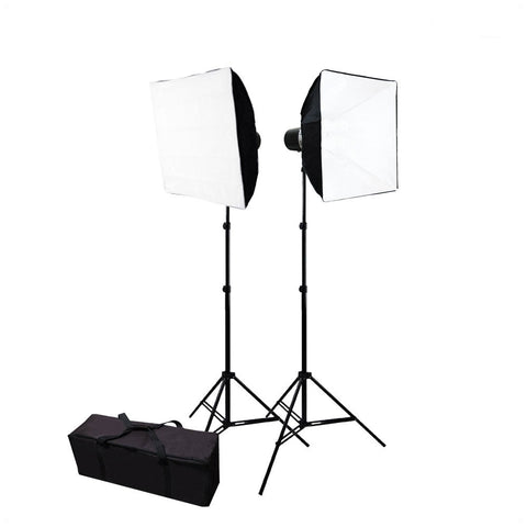 "Double 24"" x 24"" Softbox Lighting Kit with 2x 160W Flash Strobes, and 2x Light Stands for Photo Lighting"