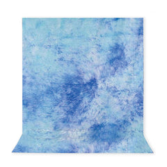10' x 12' Ft. Crushed Sky Blue Tie-Dye Hand Painted Seamless Muslin for Photography Background Lighting by Loadstone Studio