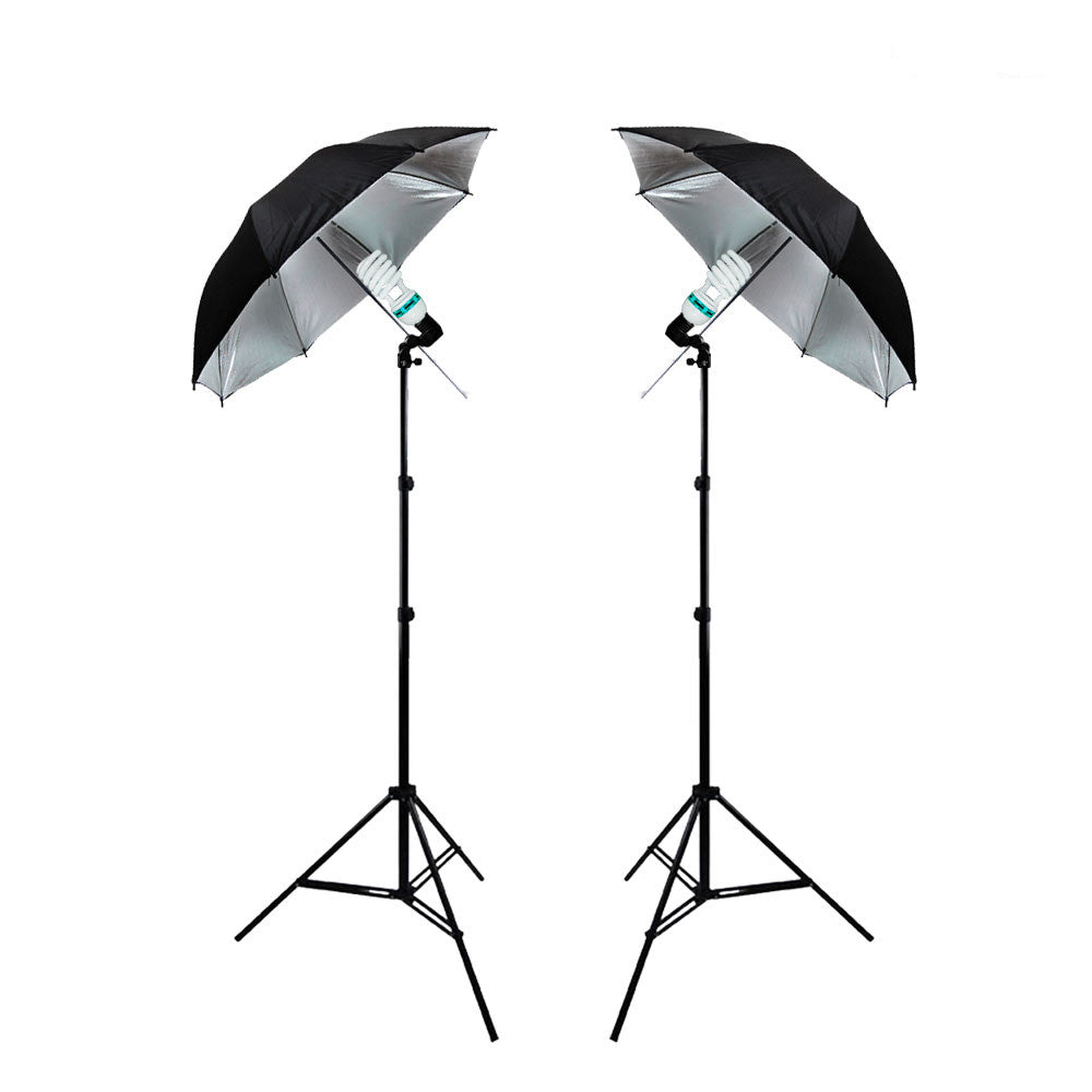 "1000W Lighting Kit with 2x 33"" Black & Silver Umbrellas, 2x Single Socket Head, and 2x Adjustable Light Stands by Loadstone Studio"