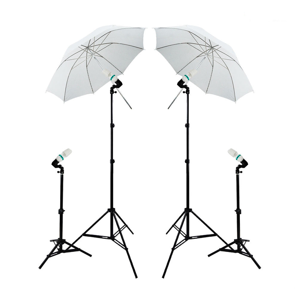 "4x 45W Lighting Kit with 2x 33"" White Umbrella, 4x Single Socket Head, 2x Stands, & 2x Kicker Stand by Loadstone Studio"
