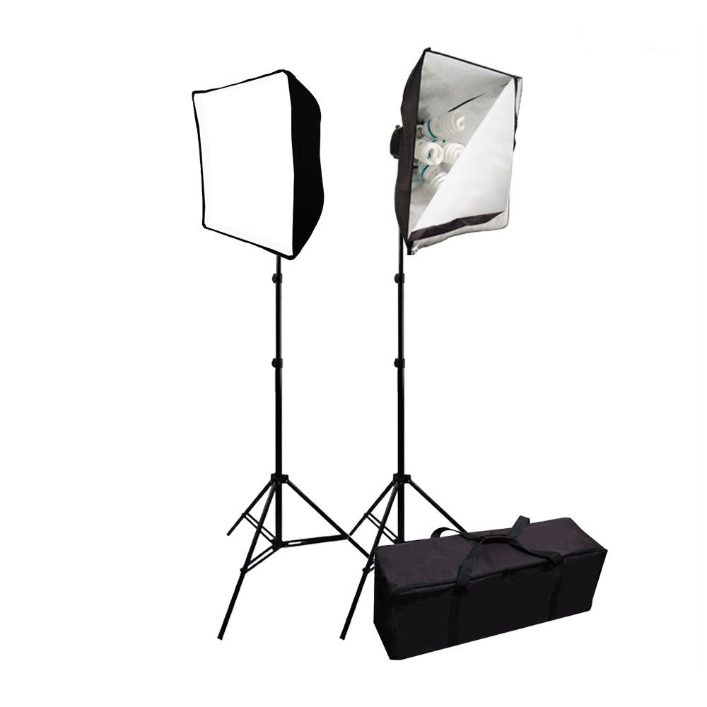 "3000W Double 20"" x 28"" Softbox Lighting Kit with 10x 65W CFL Bulbs and 2x Light Stands for Photo Lighting By Loadstone Studio"