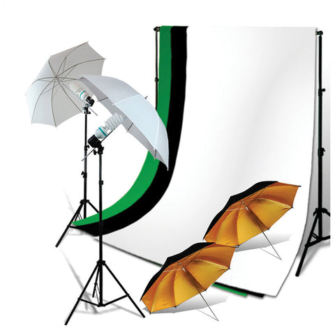 2x 45W Lighting Kit with 2x Black/Gold Umbrellas, 2x White Umbrellas, 2x Stands, 3x Muslins, & Backdrop Support by Loadstone Studio