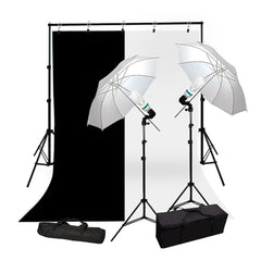 2x 45W Lighting Kit with 2x White Umbrellas, 2x Light Stands, White & Black Muslin and Backdrop Support System by Loadstone Studio