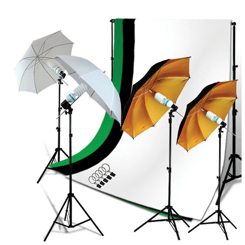 800W Lighting Kit with 2x White and 2x Black/Gold Umbrellas, 4x Stands, 3x Muslins, Backdrop Support by Loadstone Studio